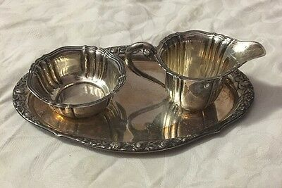 800 Silver Miniature Tray Milk And Suger