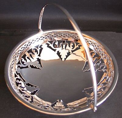 E.P.N.S. Owl - Silver Plated Candy Dish Bowl w/ Handle & Pierce Workings Ex Cond