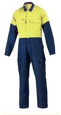 Hard Yakka Coveralls 92S Navy Blue and Yellow Fire Resistant  Brand New