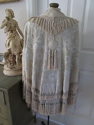 Antique Chinese Canton Silk W/ Heavy Embroidery Piano Shawl Cape Tassels/fringe