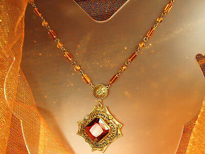 1930s ART DECO CZECH Necklace CRYSTAL Topaz Filigree ROCOCO Revival GOLD Plated