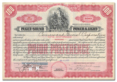 Puget Sound Power & Light Company Stock Certificate