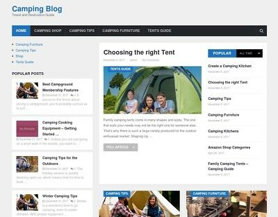 Camping Website Blog and Online Store for Sale - Turnkey Business Opportunity