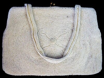 """Vintage Antique Clutch Purse Approx. 8"""" X 6"""" Micro Beaded - MFG In Belgium"""