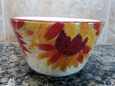 "Pfaltzgraff Evening Sun  Bowl 6"" x 3-1/2"" Hand Painted Red Sunflower"
