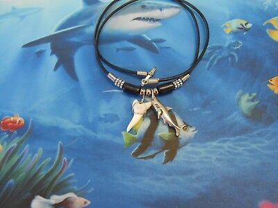 "Genuine 1"" Mako Shark Tooth Necklace With Pewter Shark Pendant Surf Wear"