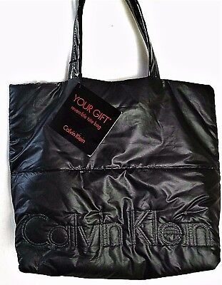 CALVIN KLEIN Reversible Tote Embroidered Logo Black Silver NEW Nylon Puffer Bag
