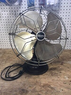 "ANTIQUE Black COOL SPOT 12"" Oscillator Desk Table Fan Made By SIGNAL Type No 360"