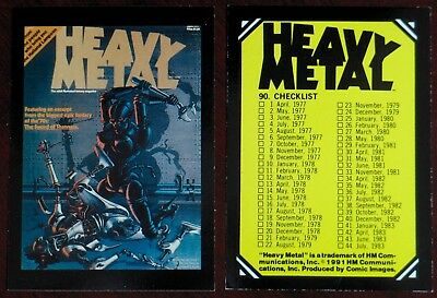 Heavy Metal Magazine Covers Full Set 90 Trading Cards 1991 Near Mint+ Condition