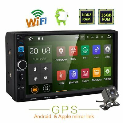 "7"" Double 2DIN Android GPS Car Radio Bluetooth WIFI Touch MP3 MP5 Player+CAM #"