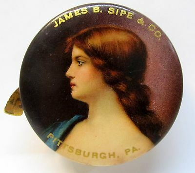 vintage JAMES SIPE CO. Pittsburgh PA pocket mirror tape measure PRETTY LADY *