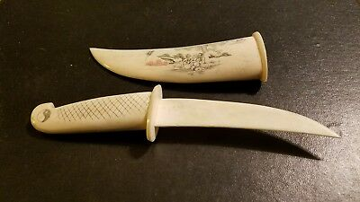 Antique Oriental Ceremonial Bone Knife, With Etchings B/sides, Nice Colors, Rare