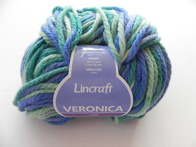 2 Balls Lincraft Veronica Yarn  - Blue and Green