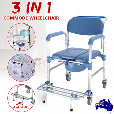 Mobile Shower Bedside Commode Chair Padded Seat Fold-up Footrest Aluminium AU