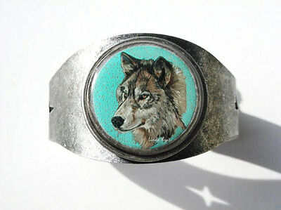 Grey Wolf Original Art Cuff Bracelet