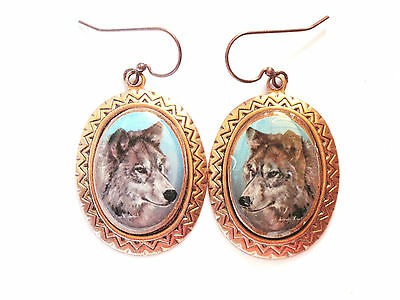 wolf wearable art copper plate earrings
