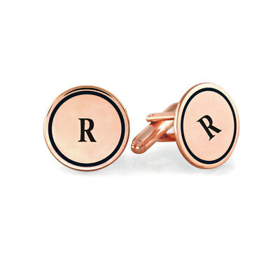Custom Engraved Letter Initial Wedding Cufflinks in Rose Gold Plated Silver