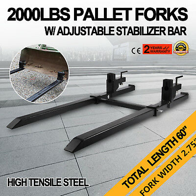 """43"""" Clamp on Pallet Forks w/ Stabilizer Bar 2000lb Skidsteer Protection Chain"""