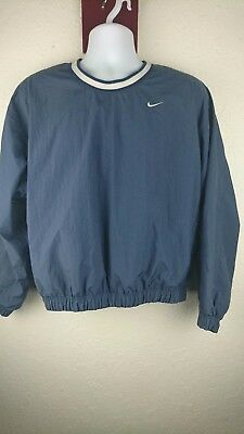 Vintage Nike Youth Medium 8 - 10 Dull Navy Blue Windbreaker Crew Pullover C2