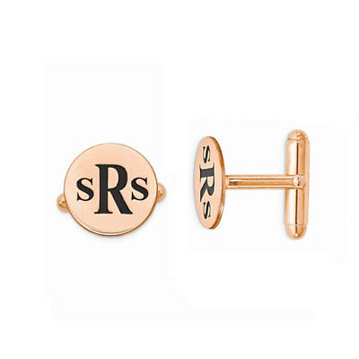 Custom Engraved Initials Circle Wedding Cufflinks in Rose Gold Plated Silver
