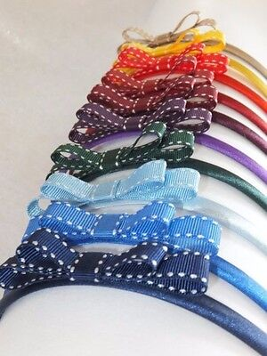 1 x GIRLS SCHOOL HEADBAND WITH SADDLE STITCH BOW. NAVY,ROYAL,GREEN,RED,YELLOW +