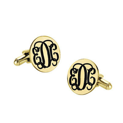 Custom Engraved Initials Groom Wedding Cufflinks in Yellow Gold Plated Silver