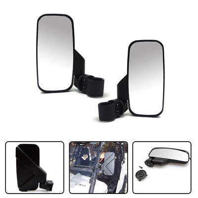 "UTV Side Mirror with 1.75"" & 2"" Mounts Shock-proof Rubber Pad for Polaris Ranger"