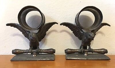 Pair of Rare Figural Napkin Rings Large Bird Eagle on Perch Knife Rest Buy Now