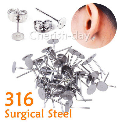 200PCS Earring Stud Posts 4/6/8mm Pads Nut Backs Silvery Surgical Steel NEW AU Z