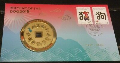 2018 Year of the Dog Stamp and Medallion Cover