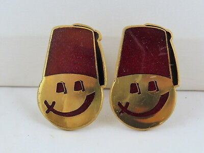 Shirners Cufflinks (VTG) - Happy Faces with Saber Smile - Made in Canada