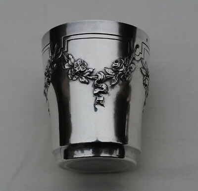 ANTIQUE FRENCH STERLING SILVER Wine Cup, Timbale or Beaker Cup FLORAL DETAILS