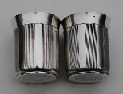 ANTIQUE FRENCH STERLING SILVER PAIR Wine Cups, Timbales or Beaker Cups ART DECO