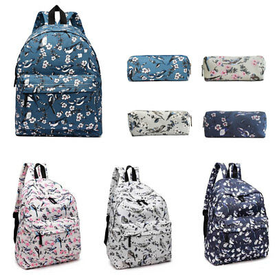 Girls Retro Backpack Pencil Case School College Rucksack Travel Laptop Work Bag