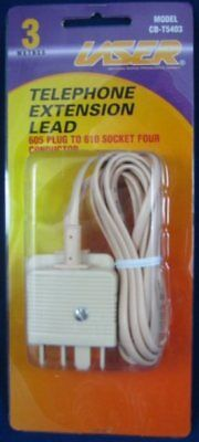 Telephone Extension Leads 605 plug to 610 plug 3 meters CARTON of 6