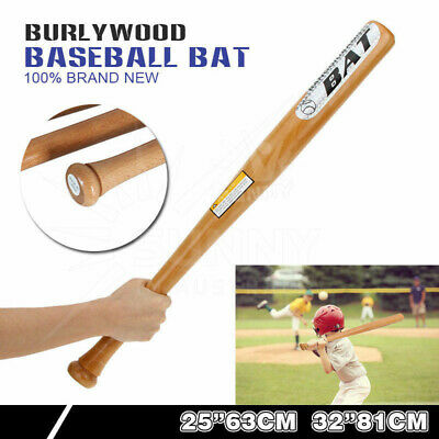 "25""/63cm 32""/81cm Wood Baseball Bat Racket Sports Exercise Self-Defense AU"