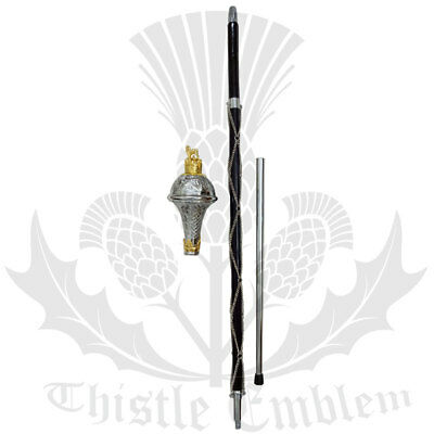 "New Drum Major Mace Stick  Embossed Lion & Crown Gold Head 60"" free carrying Bag"
