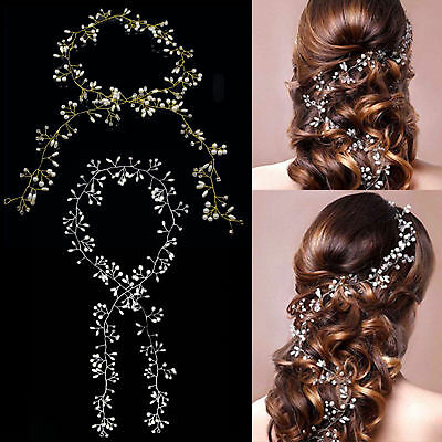 1PC Pearls Wedding Hair Vine Crystal Bridal Diamante Bride Flower Headware -Gold