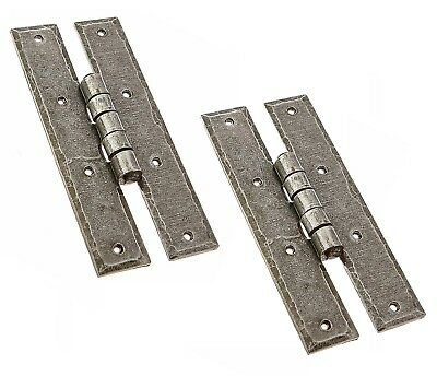 """A Pair Of 6"""" Door or Large Cupboard H Hinges in Pewter finish Wrought Iron 51"""