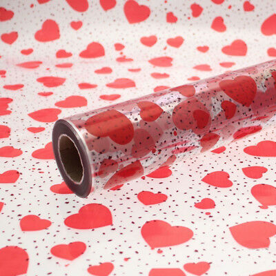 Speckled Red Hearts Clear Cellophane Gift Wrap Valentines FREE 3m Curling Ribbon