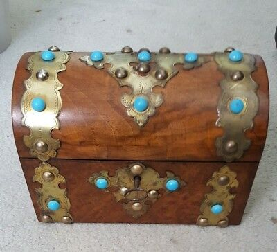 keyed Antique mahogany brass straps Victorian wood tea caddy box turquoise beads