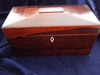 Antique Georgian Victorian rosewood tea caddy box with a key (working)