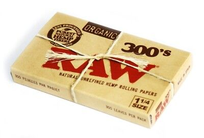 RAW Organic 300 1.25 1 1/4 Size Rolling Papers Pure Hemp Paper 1 Pack