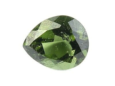 3.05cts DROP/PEAR 10x12mm STANDARD CUT moldavite faceted cutted gem BRUS1674