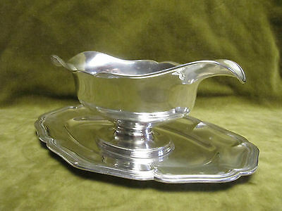 Early 20th c french sterling silver (minerve) sauce boat 559gr nets - filets