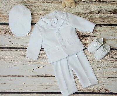86c20984696e2 Baby Boy White Outfit Smart Set Wedding Suit Christening Baptism Party