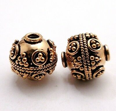 3 Pcs   17Mm Solid Copper Bali Bead Antique Copper Silver Gold Plated #2
