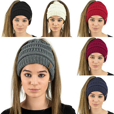 Ladies Womens Soft Plain Colour Ponytail Messy Bun Ribbed Winter Beanie Hat Cap
