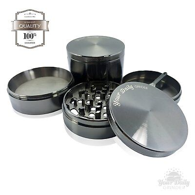 "Your Daily Grinder Chromium Crusher Zinc Metal 2.5"" 4 Piece Spice Herb Grinder"