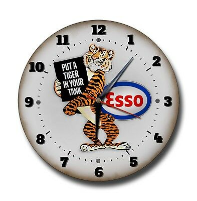 Esso Put A Tiger In Your Tank 250 Mm / 10 Inches Diameter Metal Clock,garage,oil